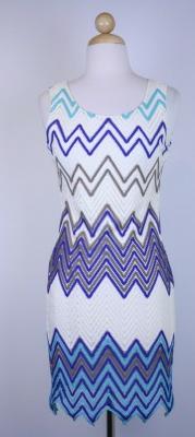 Blue Zig Zag Dress Mono B