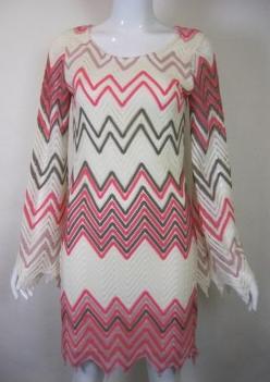 Coral & Ivory Zig Zag Dress