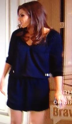Heather Dubrows Navy Blue Dress talking to Gretchen DVF