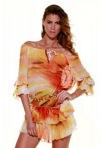 Casting Orange Print Ruffle Dress Top Tunic