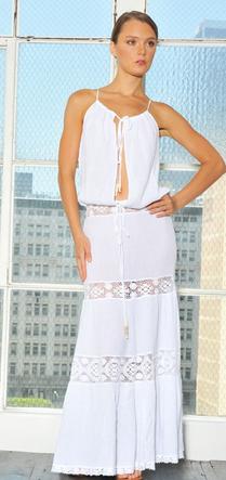 Michelle Jonas Gauze Hippie Dress in White