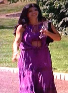 Teresa Giudice Purple Maxi Dress Talking to Joe