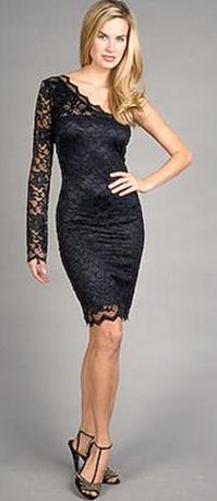 Sentimental One Sleeve Black Lace Dress