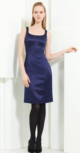 Armani Collezioni Duchesse Satin Sheath Dress Navy Blue