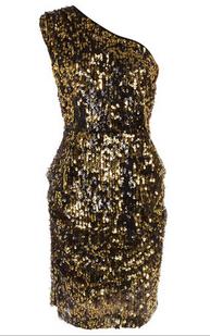 Dorothy Perkins Gold Sequin One Shoulder Dress