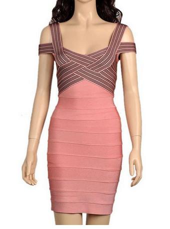 Herve Leger Pink Striped Off The Shoulder Bandage Dress