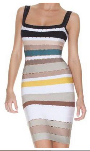 Herve Leger Multi Stripe Bandage Dress