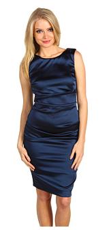 Nicole Miller Satin Stretch Sheath Dress Navy Blue