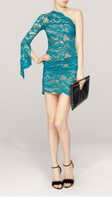 Emilio Pucci One Shoulder Turquoise Lace Dress