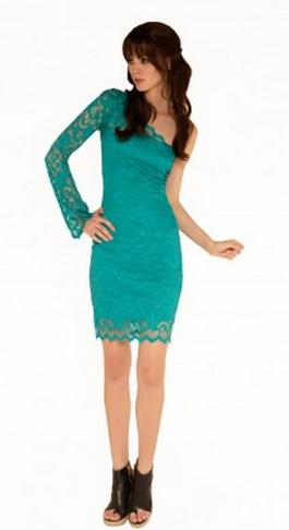Sentimental One Shoulder Long Sleeve Lace Dress Turquoise