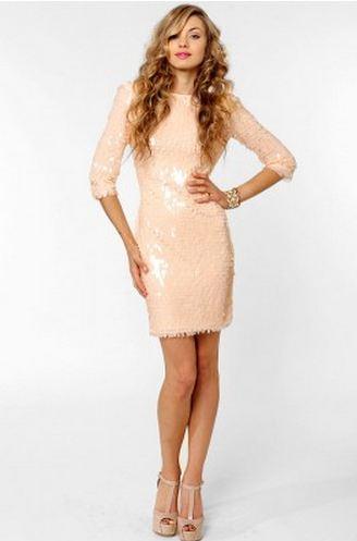 Blaque Label Sequin Open Back Dress in Blush White Cream