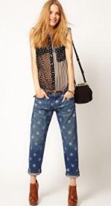 Current Elliott Star Print Cuffed Boyfriend  Jeans