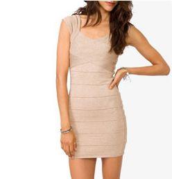 Forever 21 Nude Bandage Dress