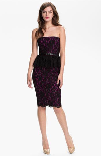 Robert Rodriguez Purple and Black Lace Peplum Dress