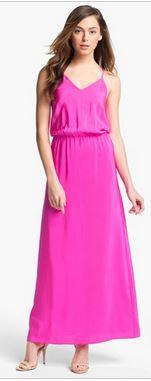 Amanda Uprichard Hot Pink Silk Maxi Dress