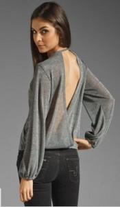 Silver Open Back Knit Top