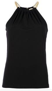 Black chain collar top