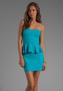 Amanda Uprichrad Turquiose Peplum Dress