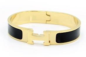 Black and Gold H Bracelet