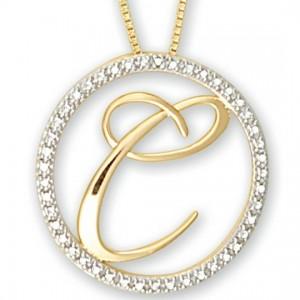 Diamond Circle Initial Pendant