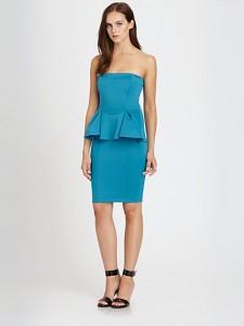 Turquoise Peplum Dress Strapless