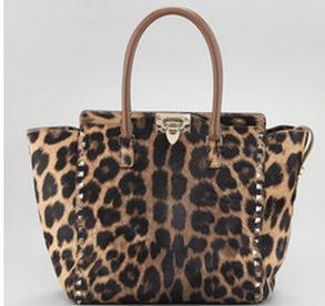Valentino Rocstud Pony Hair Leopard Bag
