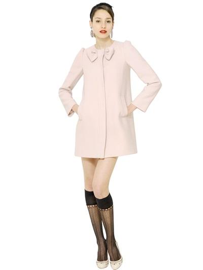 Valentino Wool Bow Crepe Coat