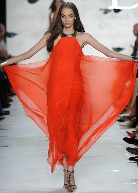 Diane Von Furstenberg Red Chiffon Dress with Necklace