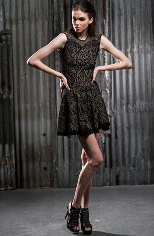 RVN Lace Tattoo Jacquard Dress