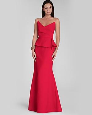 BCBG Stand Bust Peplum Gown Red
