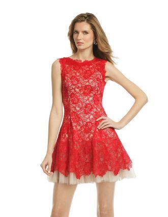 Naheem Kahn Red Lace Dress