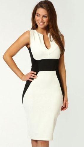 Black and White Deep V Pencil Dress
