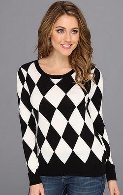 Kensie Black and White Argyle Sweater