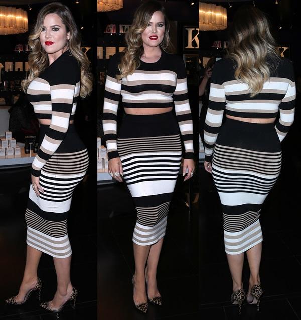 Khloe Kardashian Appears at Kardashian Khaos in Torn by Ronny Kobo Emma Crop Top and Ronny Skirt
