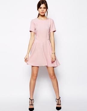 Light Pink Short Sleeve Skater Dress