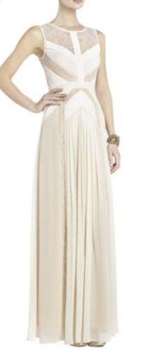 BCBG Avi Pleated Gown White