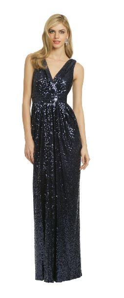 Badgley Mischka Blue Sequin Gown