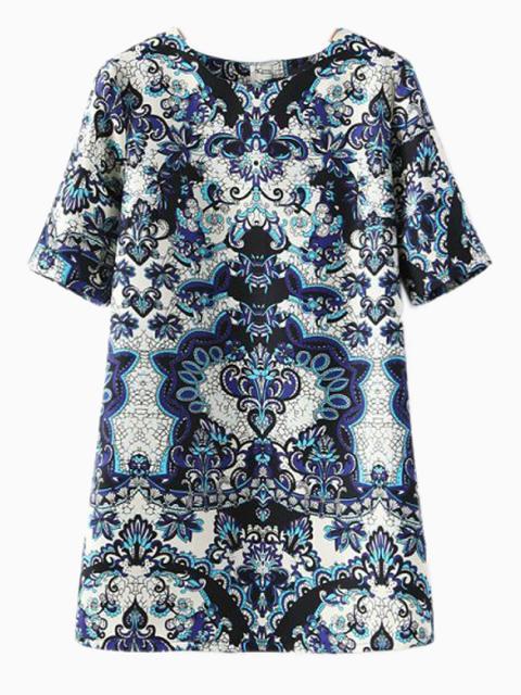 Blue & White Porcelin Print Shift Dress