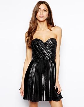 Metallic Strapless Pleated Dress