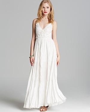 Olivaceous Crochet Lace Maxi Dress