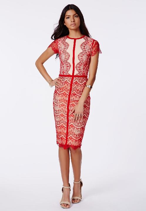 Red Lace Panel Midi Dress