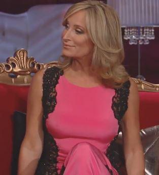 Sonja Morgan's Real Housewives of new York Season 6 Reunion Dress Pink & Black Lace