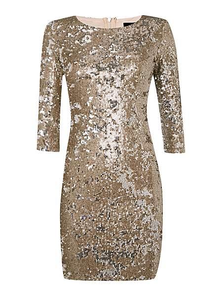 TFNC Gold Sequin Longsleeve Dress