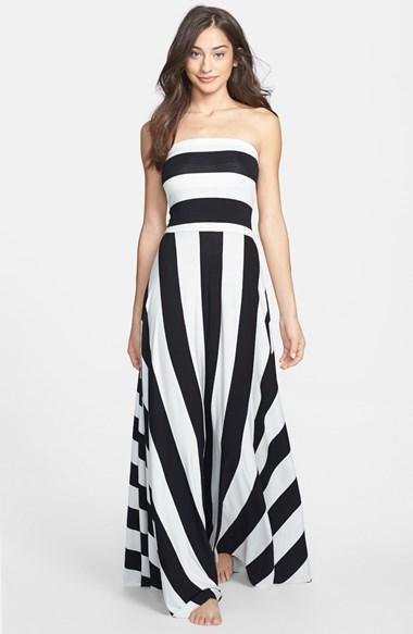 Elan Black and White Striped Maxi Dress