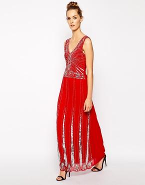 Red Beaded Maxi Dress