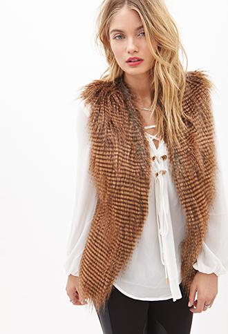 Forever 21 Racoon Fur Vest