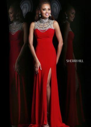 Red  beaded neck slit leg gown
