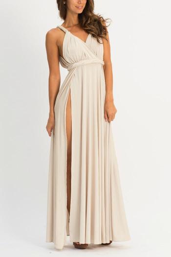 White Grecian Maxi Dress with Slit