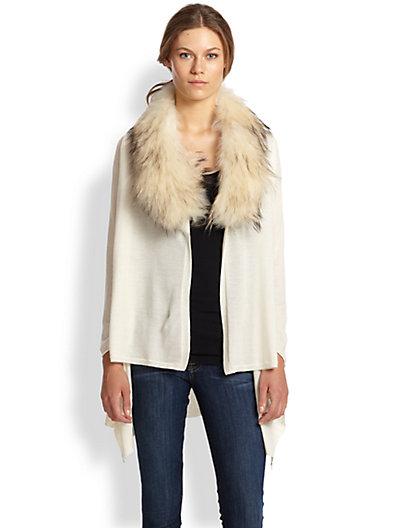 White long cardigan with fur collar