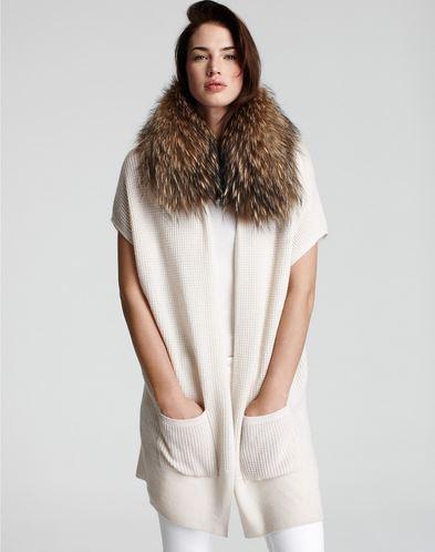 Fur Collar Waffle Knit Cardigan